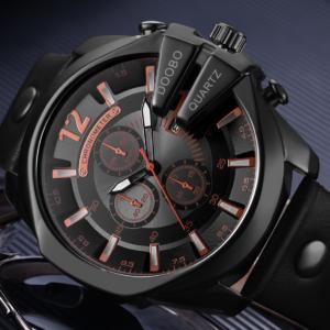 Pánské hodinky s koženkovým páskem