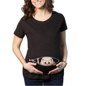 Vtipné těhotenské triko se zipem