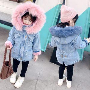 Džínová zimní bunda s kožíškem pro dívky