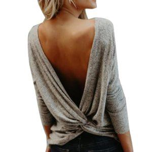 Dámský ležérní svetr s holými zády a dlouhým rukávem