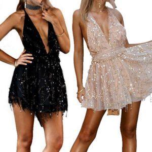 Společenské sexy šaty s flitrovými střapci a hlubokým výstřihem