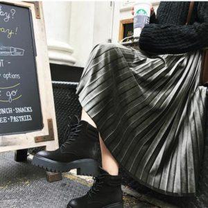 Dámská dlouhá jarní saténová plisovaná sukně s vysokým pasem