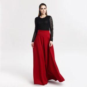 Moderní dlouhá dámská sukně s vysokým pasem