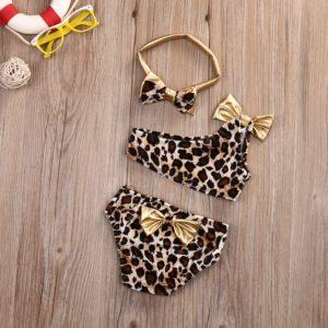 Dívčí trendy leopardí bikiny s čelenkou