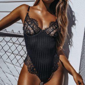 Dámské sexy krajkové noční body s výstřihem do V