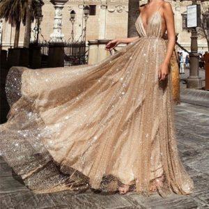 Dámské společenské dlouhé šaty s flitrama