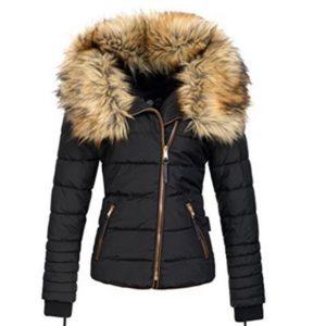 Luxusní zimní dámská bunda s kožichem kolem krku