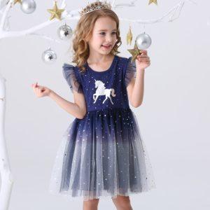 Volnočasové dětské dívčí šaty se sukní pro zábavu