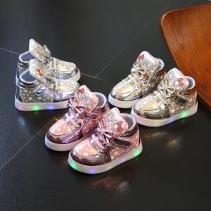 Dětské dívčí roztomilé boty se světýlky a mašličkou