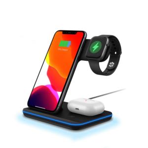Bezdrátový nabíjecí stojan pro iPhone - mobilní telefon, hodinky a sluchátka