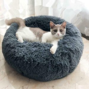 Round Cat Bed House Soft Long Plush Basket Pet Sleeping Bag Puppy Cat Cushion Mat Portable Supplies Best Pet Dog Bed For Dogs