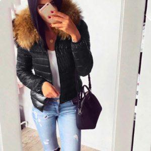 Dámská lesklá bunda s kožíškem Joanna
