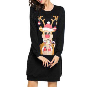 Dámské moderní vánoční mikinové šaty Mai