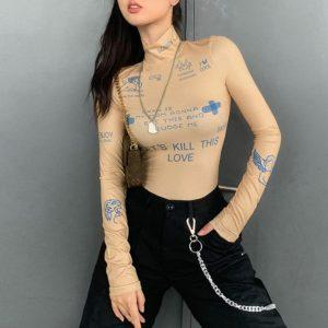 Sexy body s dlouhým rukávem pro ženy
