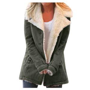 Women Plus Size Warm Coats Composite Plush Button Lapels Jacket Outwearcoat Thick Lady Winter Pockets Solid Coats
