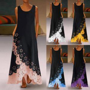 Dámské dlouhé Maxi šaty bez rukávů s kulatým výstřihem