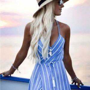 Dámské letní pruhované šaty s rozparkem