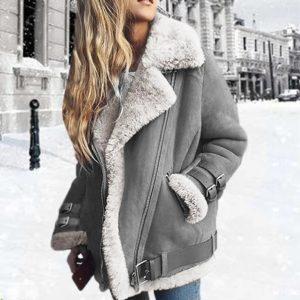 Dámská plus size bunda s kožíškem