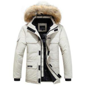 Pánska zimná bunda s kapucňou a kožuchom