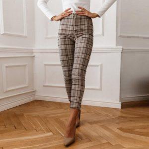 Dámské elegantní bavlněné kalhoty s vysokým pasem Jodi
