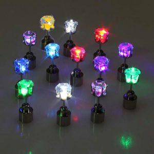 Barevné svítící LED náušnice