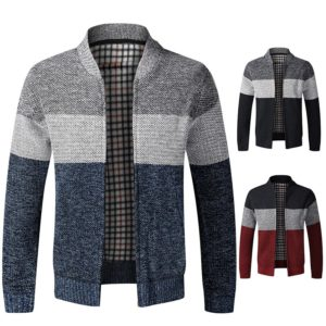 Fashion Men's Sweater Coat 2020 Spring Autumn Mens Hooded Stripe Coat Thick Zipper Wool Sweater Cardigan Jumpers Male