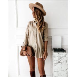 Dámské košilové mini šaty s dlouhým rukávem a překládanou sukní Jasmin
