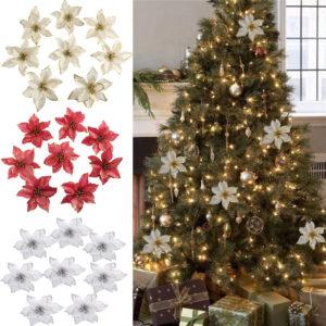 13cm Big Flower Head Glitter Artificial Silk Flower Christmas Tree Ornament DIY Christmas Decoration New Year Decor