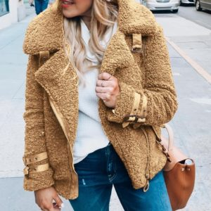 Dámský cool plyšový kabát Lesly