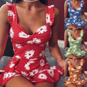 Volánkové letní šaty s květinovým potiskem