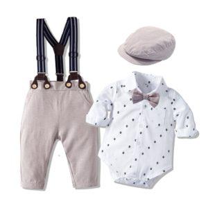 Chlapecký moderní set - romper tričko a kalhoty s kšandy