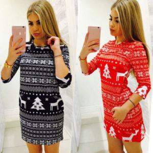 Vianočné mini šaty so vzorom sobov a stromov