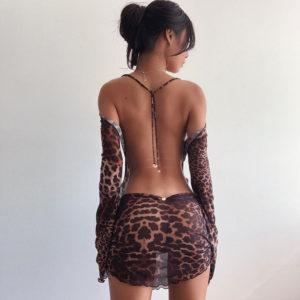 Dámské krátké šaty s leopardím vzorem Kayla