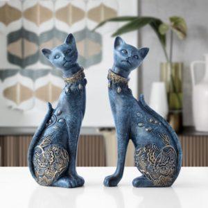 Domácí dekorace - kočičí figurky z pryskyřice