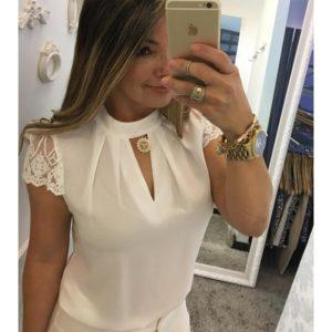 Dámská elegantní letní sexy halenka s krajkovými krátkými rukávy