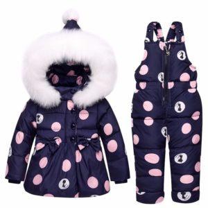 Dívčí zimní set s puntíky - Bunda a kalhoty