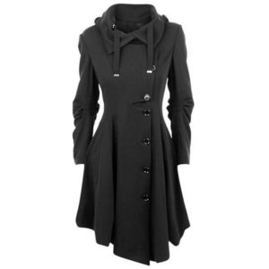 Fashion Long Medieval Trench Woolen Coat Women Black Stand Collar Gothic Overcoat Women Coat Vintage Femme Outwear