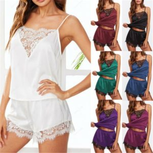 2020 New Sexy Women Silk Satin Pajamas Set Sleepwear Shorts Babydoll Nightwear Lingerie