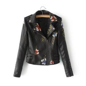 Dámská kožená bunda s květinami Anna