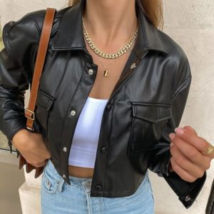 Dámská croptop kožená bunda s náprsními kapsami Alessandra