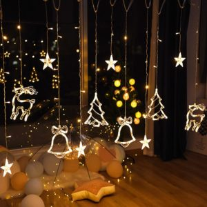 Smaraad 3.5M LED Star Deer Tree Bell Christmas Garland Fairy Curtain String Lights For Home New Year Wedding Party Decoration