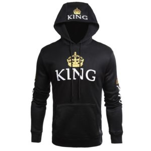 King Queen Hoodies Printed Fashion Hoodies Hooded Collar Polyester Fiber Lovers Long-sleeved Sweater