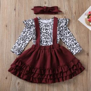 Leopardí kojenecký dívčí set s volánkovou sukní