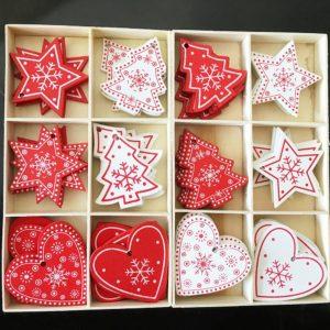 Vánoční dřevěné ozdoby Christmas - 10 Ks