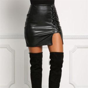 Dámská kožená mini sukně se šněrováním na boku Luren