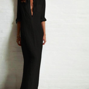 Dámské módní ležérní košilové šaty s dlouhým rukávem a hlubokým výstřihem