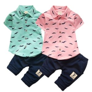 Letní chlapecký bavlněný set košile a tepláků