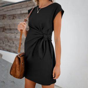 Dámské těhotenské šaty s uzlem v pase