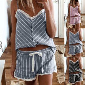 Dámské dvoudílné proužkované pyžamo s krajkou
