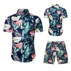 Pánský letní pohodlný komplet Alex | košile + kraťasy